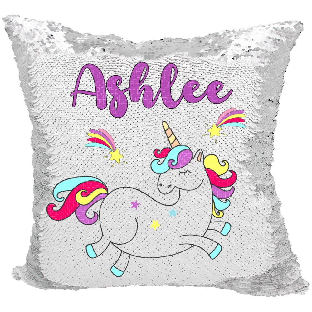 Personalized Mermaid Reversible Sequin Pillow, Custom Unicorn Rainbow Sequin Pillow (White/Silver)