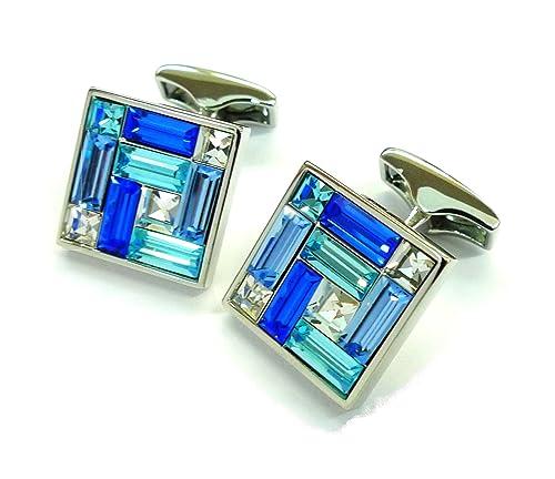 Azul y blanco combinado de cristales mancuernas de piedras sin caja cuadrada Gemelos 052019-1: Amazon.es: Joyería