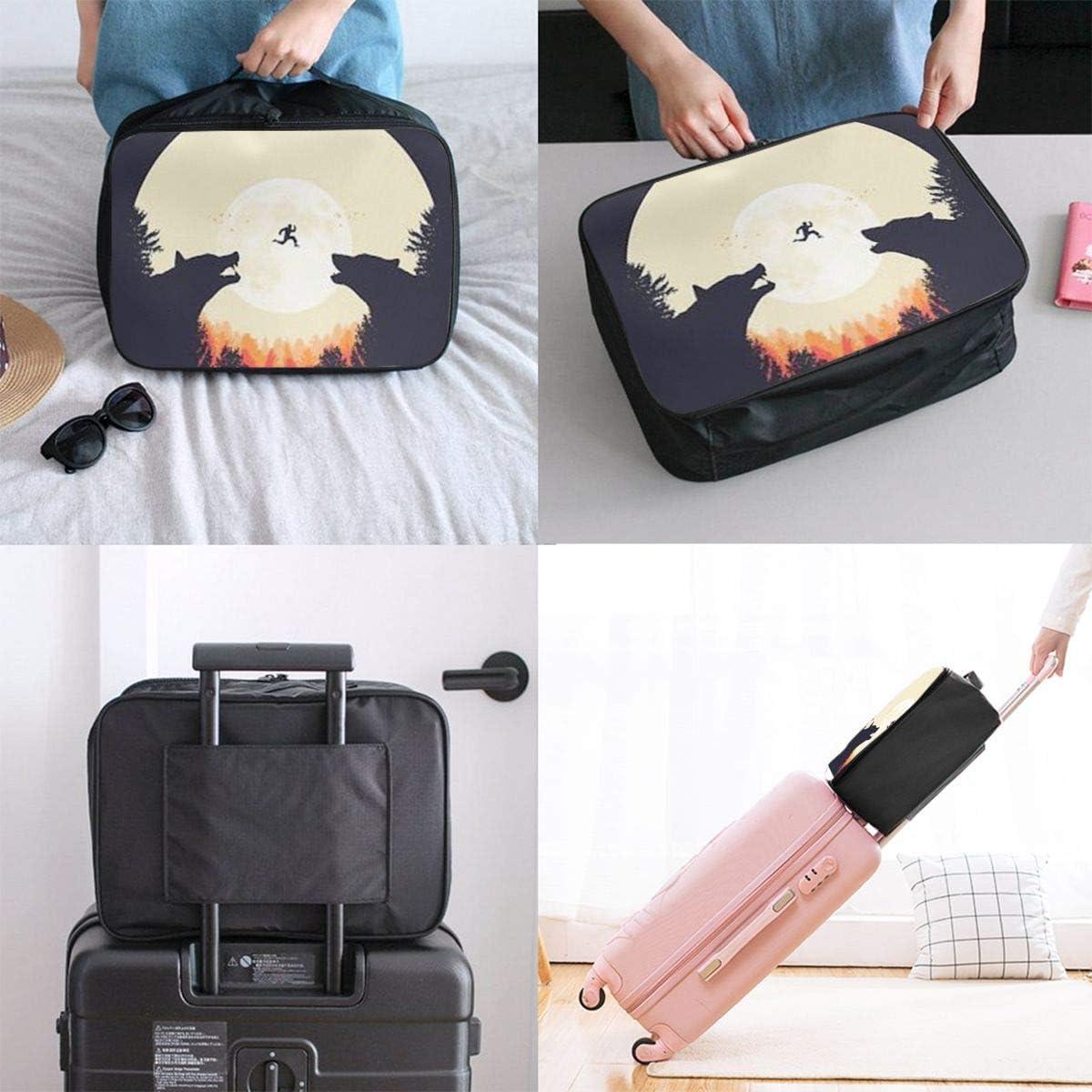 Wolf Art Travel Carry-on Luggage Weekender Bag Overnight Tote Flight Duffel In Trolley Handle