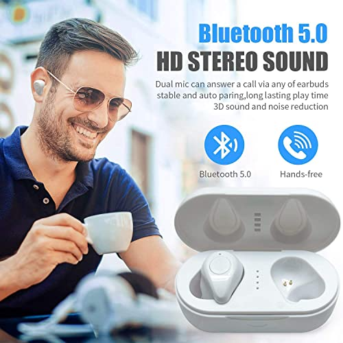 Wireless Bluetooth Headset, Noise Reduction Sports Headphones Q6 TWS Sports Noise Reduction in-Ear Wireless Bluetooth HiFi Headphones, Suitable for iPhone iPod iPad Android MP3 MP4 White