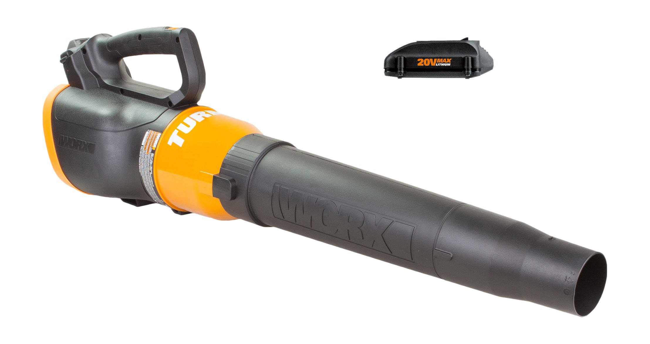 WORX WG546.2 TURBINE 20V Cordless Blower/Sweeper with 340 CFM 2-Speed Axial Fan with 2 Batteries and Charger Included