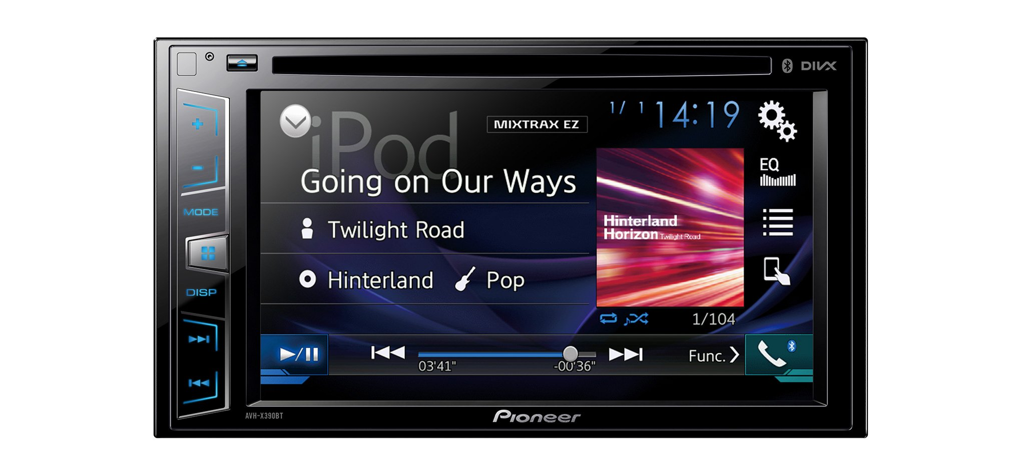 "Pioneer AVH-X390BT - Pantalla Multimedia Doble, Bluetooth, pantalla táctil WVGA de 6.2"" Clear Type, salida 4 V, color negro product image"