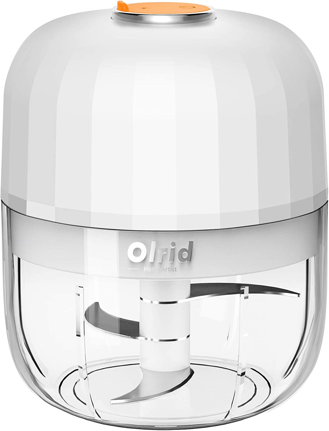 Electric Mini Garlic Chopper, Olrid Mini Chopper Food Processor, Garlic Mincer, for Chop Onion Ginger Vegetable Pepper Spice Meat, Baby Food, Easy Cleaning, BPA Free (250ml)