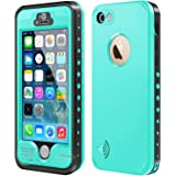 iPhone 5S / SE Waterproof Case, Waterproof Dust Proof Snow Proof Shock Proof Case with Touched Transparent Screen Protector, Heavy Duty Protective Carrying Cover Case for iPhone 5 5s SE (T-Aqua Blue)