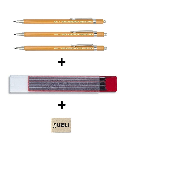 + Free Bonus Rubber Jueli pack of 12 Set of 3 KOH-I-NOOR 5201 Metal Clutch Pencil Yellow Versatil Koh-i-noor 4190 2B 2.0 mm Graphite Leads