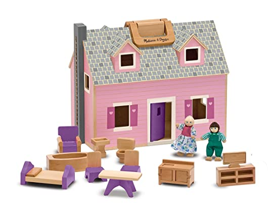 Melissa Doug Fold And Go Wooden Dollhouse With 2 Dolls Furniture