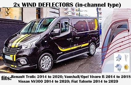 Juego de 2 deflectores de viento en forma de canal compatible con Vauxhall Movano y Opel Master Visor lateral de vidrio acr/ílico ONWARD Nissan NV400 VAN 2010+