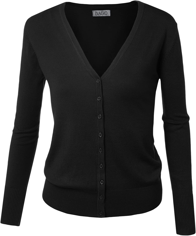 BIADANI Women Button Down Long Sleeve Soft V-Neck Cardigan Sweater Black 1X-Large