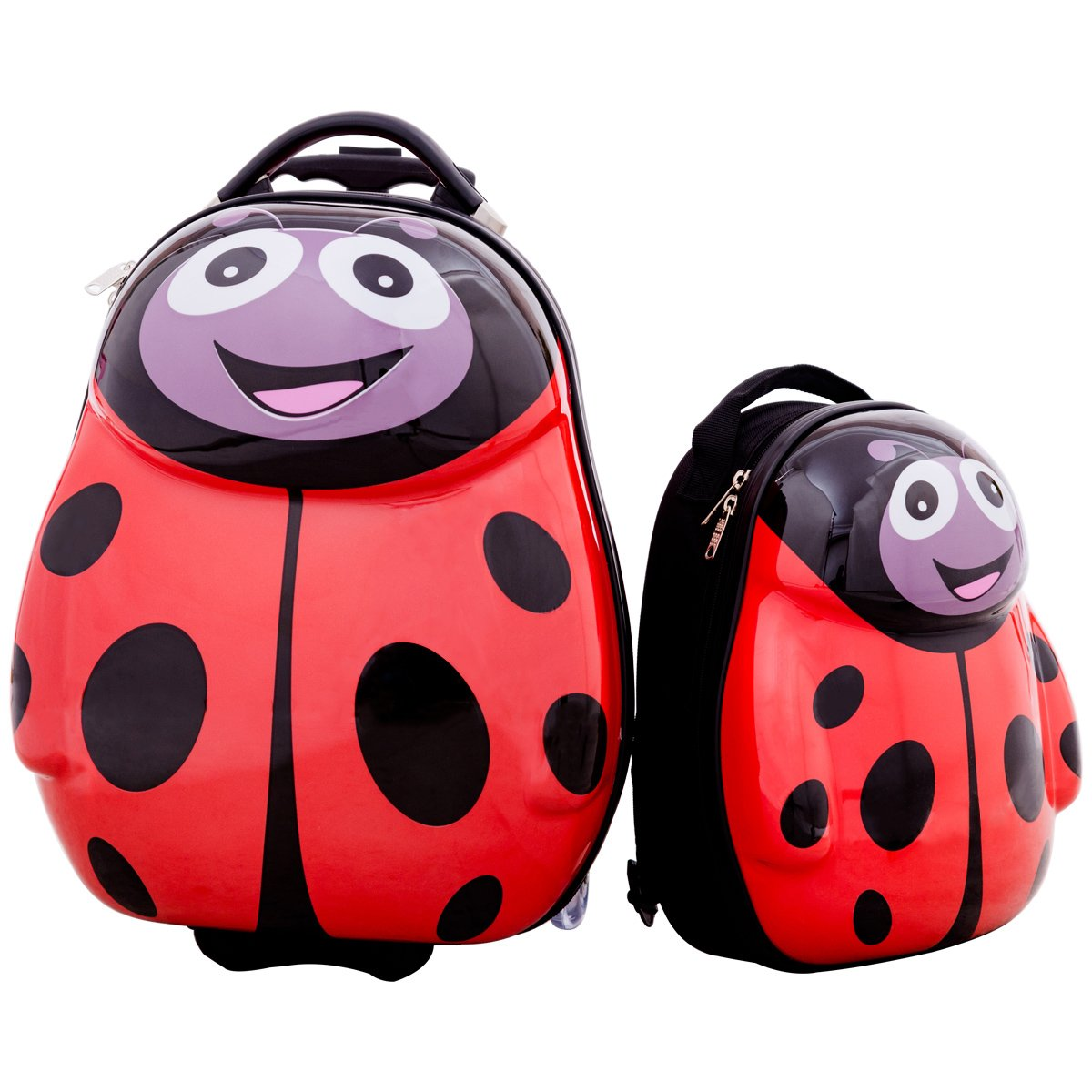 HONEY JOY 2Pc 13'' 19'' Kids Carry On Luggage Set Travel Trolley Suitcase for Boys and Girls (Ladybug)
