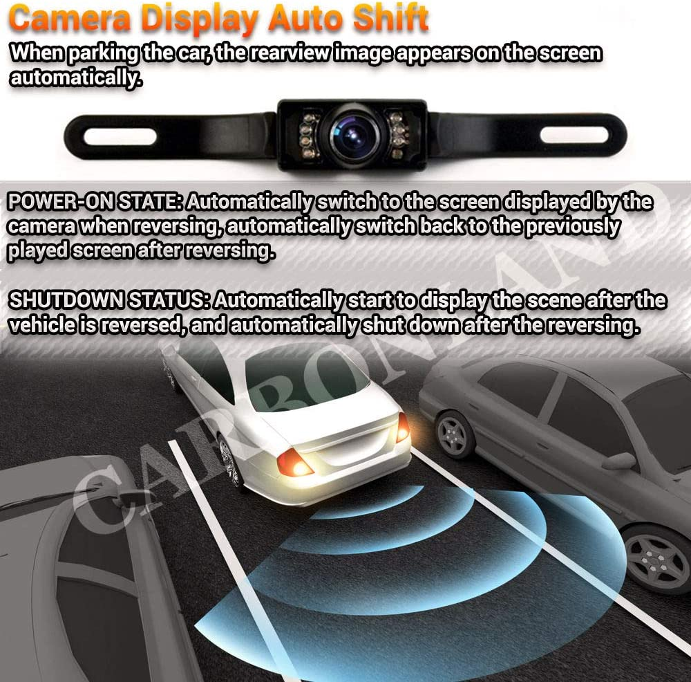 Black CARBONLAND Car Backup-Camera 170/° Night Vision IP67 also for Truck Bus RV