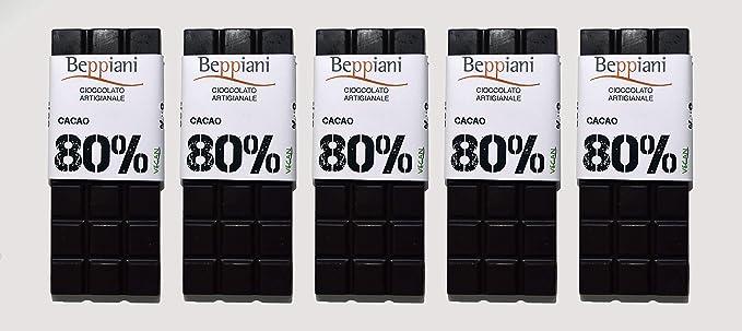 Beppiani - Set 5 tabletas 80% chocolate oscuro oscuro - 350 g - Chocolate hecho