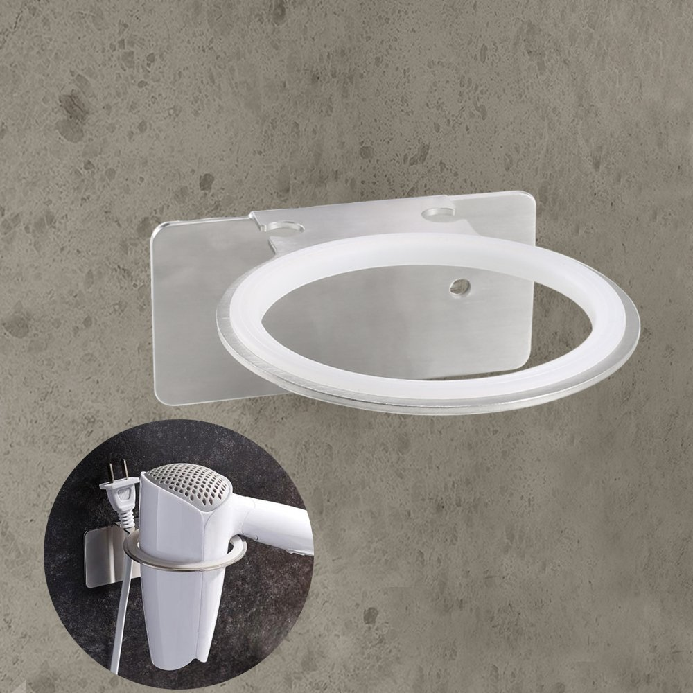 Anpatio Acero Inoxidable secador de Cabello Soporte Multifuncional Soportes para secadores de Pelo Adhesivo/Perforado montado en Pared de Baño Dormitorio ...