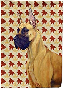 Caroline's Treasures LH9085GF Great Dane Fall Leaves Portrait Flag Garden Size, Small, Multicolor