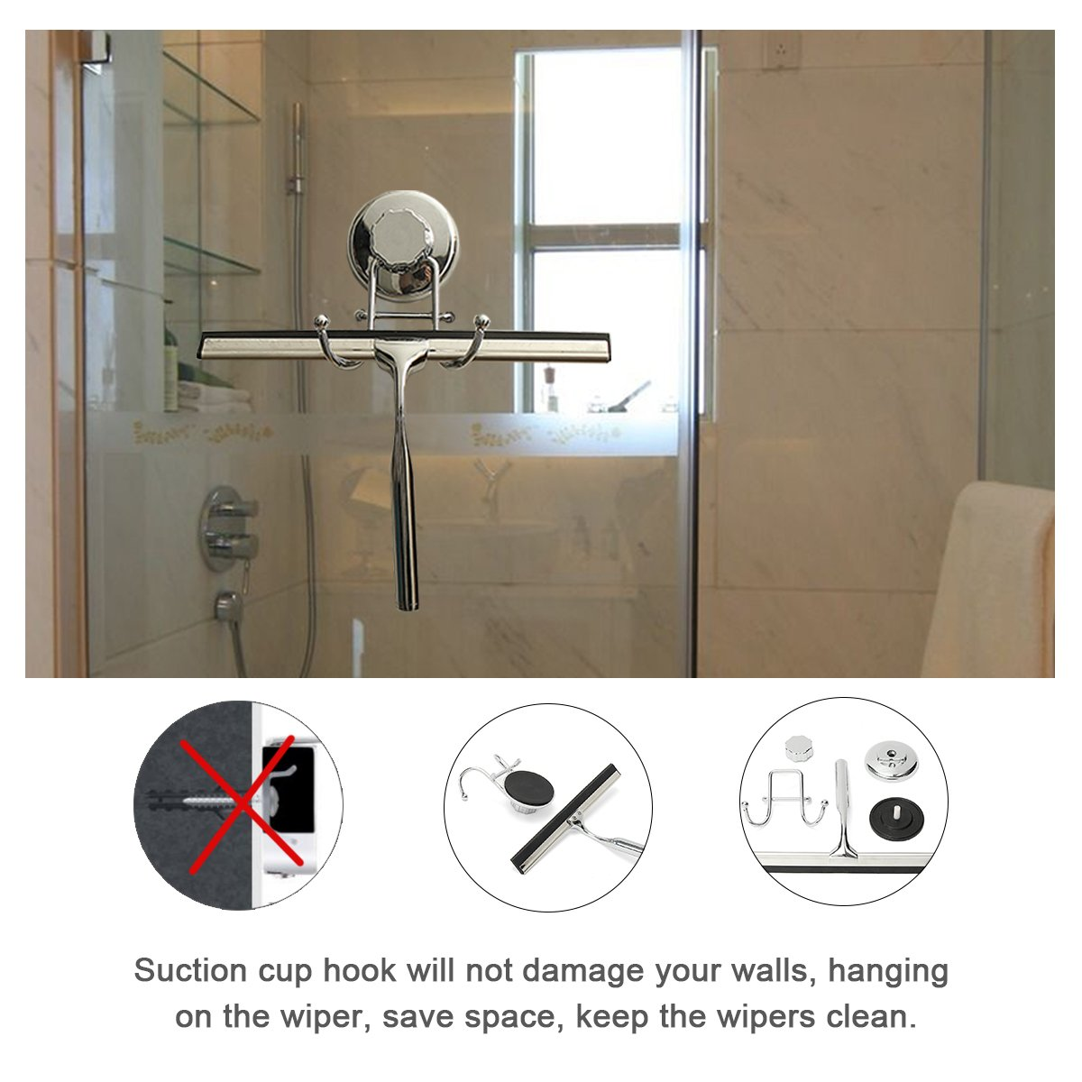 Amazon.com: TAPCET Shower Window Squeegee Window Wiper with ...