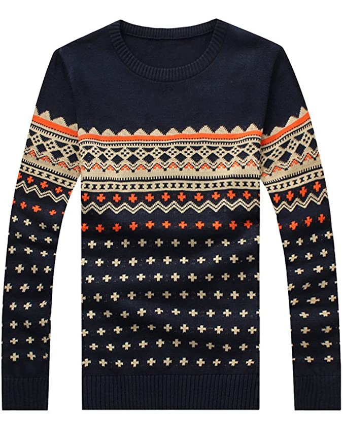Men's Vintage Style Sweaters – 1920s to 1960s Vintage Jacquard Sweaters Pullover $26.90 AT vintagedancer.com
