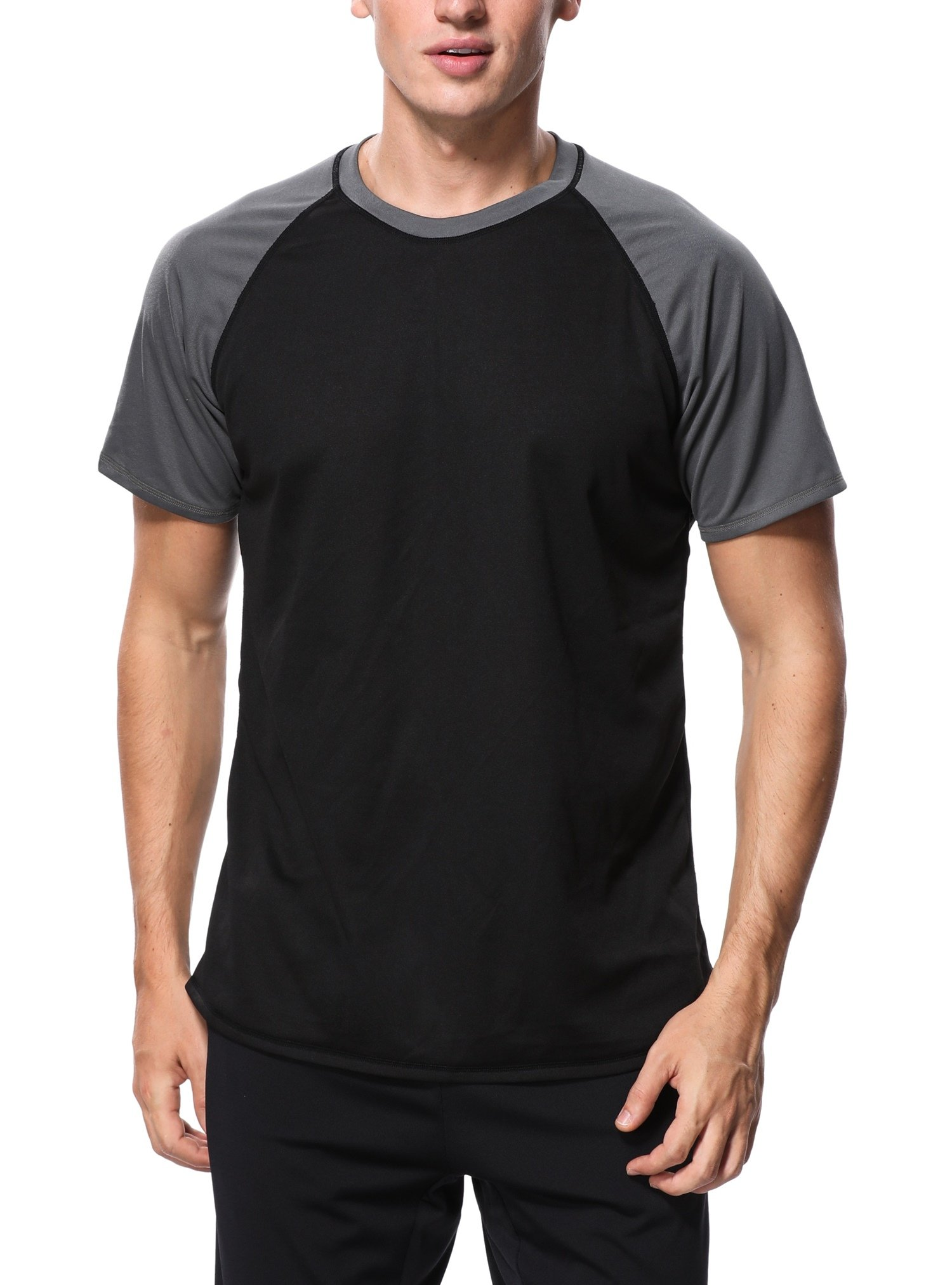ATTRACO Men's Rashguard Shirt Quick Dry Short Sleeve Swim Tee Black Large