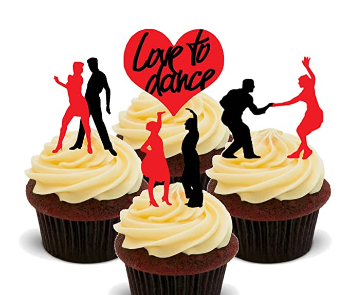 Love to Dance Silhouettes, Edible Cupcake Toppers - Stand-up Wafer ...