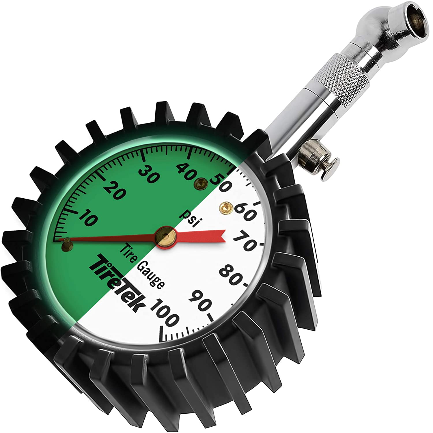 TireTek Tire Gauge 0-100 PSI, ANSI Certified High Pressure Tire Gauge with Easy to Read Glow Dial, Heavy Duty Tire & Wheel Tools for Trucks, SUVs, RVs, Trailers, Pick Ups, Motorcycles & Cars
