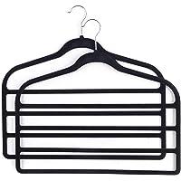 Beldray LA063779BLKEU Pack of Three Velvet 4-Tier Trouser Hangers, Black