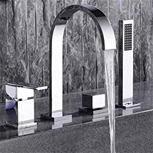 BULUXE Roman Bathtub Faucet with Hand Shower, Double Handles 4-Hole Widespread Modern Style Bathroom Tub Faucet with Gooseneck Spout in Polished Chrome Solid Brass