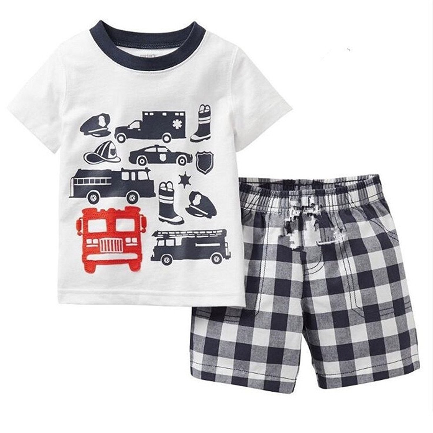 Shirt and Plaid Pants Casual Clothing Sets Little Boys Cartoon Car T