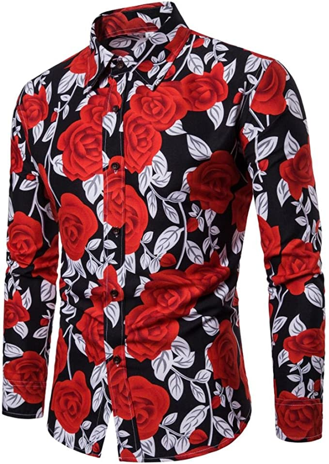 DIOMOR Mens Fashion Funny Graphic Button Down Shirts Casual Hawaiian Beach Short Sleeve Lapel Tees Tops Blouse