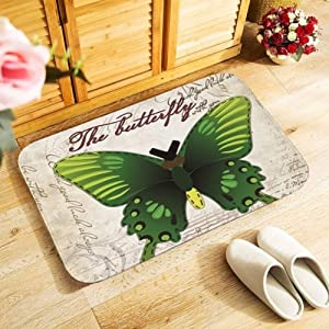 KFEKDT Thick Flannel Doormat Kitchen Bathroom Floor Carpet Corridor Entrance Non-Slip Rug Artwork Butterfly Print A5 40cmx60cm