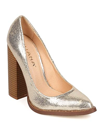 fb75804a0366 Liliana Women Metallic Leatherette Pointy Toe Chunky Heel Pump EI05 - Gold  (Size  5.5