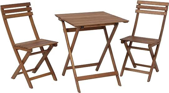 Juego de mobiliario de jardín de acacia FSC® para balcón, terraza o jardín, 3 piezas (mesa y sillas plegables): Amazon.es: Jardín