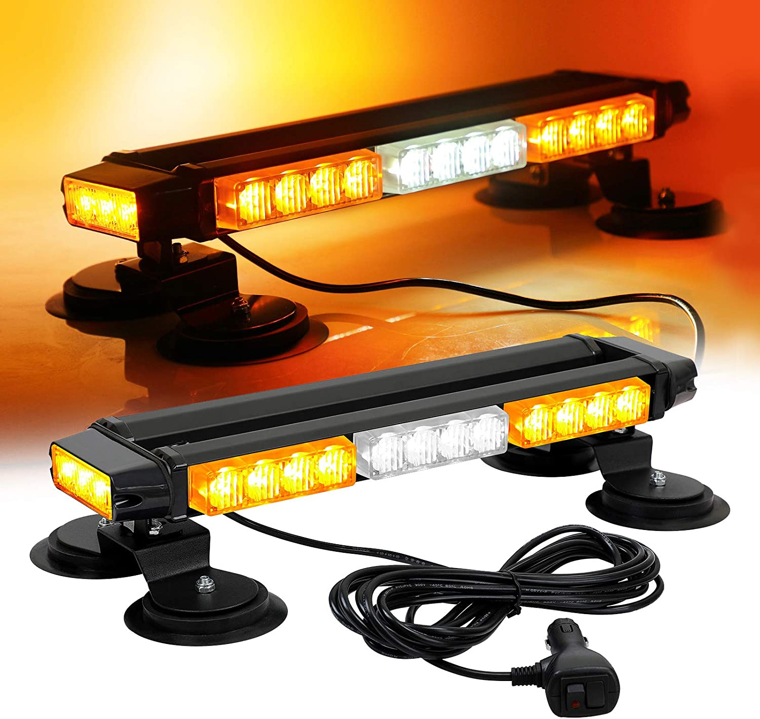 Yellow-White Windshield with Suction Cups Dash Linchview 16 LED High Intensity LED with 18 strobe patterns Law Enforcement Emergency Beacon Hazard Warning Strobe Lights for Vehicle Car Truck SUV Interior Roof