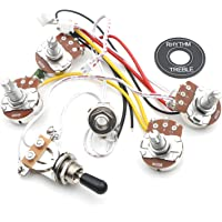 Swhmc Guitar Wiring Harness Kit LP 2V 2T 3 Way Toggle Switch Big 500K Pots&Jack Les Pual Style Black Tip Cap Electric Guitar Replacement