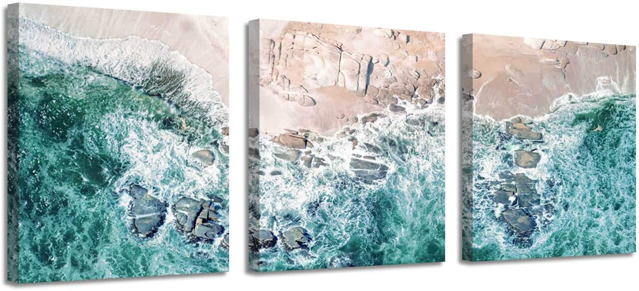 Beach Seascape Picture Canvas Art : Aerial View Coastal Ocean Waves Graphic Artwork (16''x16''x3 Panels) for Wall Decor