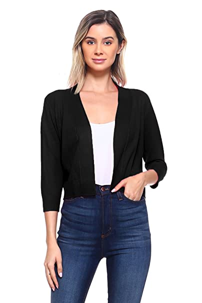 76d79346780d CIELO Women s Soft Solid Open Front 3 4 Sleeve Sweater Cardigan Black Small