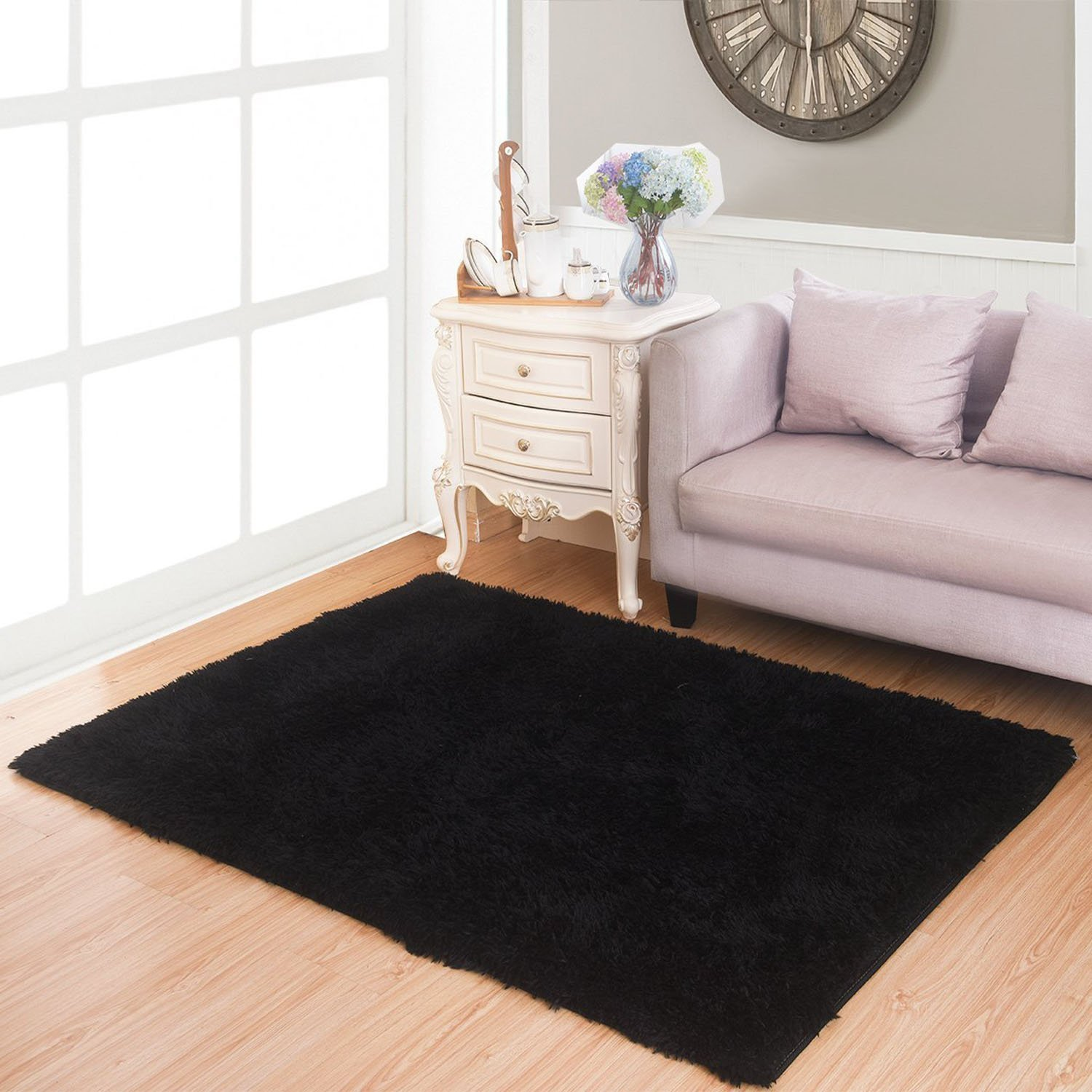 mbigm super soft modern shag area rugs purple living room carpet bedroom rug washable rugs solid - Bedroom Rug
