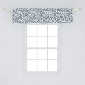"""Ambesonne Paisley Window Valance, Vintage Monochrome Folkloric Floral Art, Curtain Valance for Kitchen Bedroom Decor with Rod Pocket, 54"""" X 12"""", Blue Grey"""