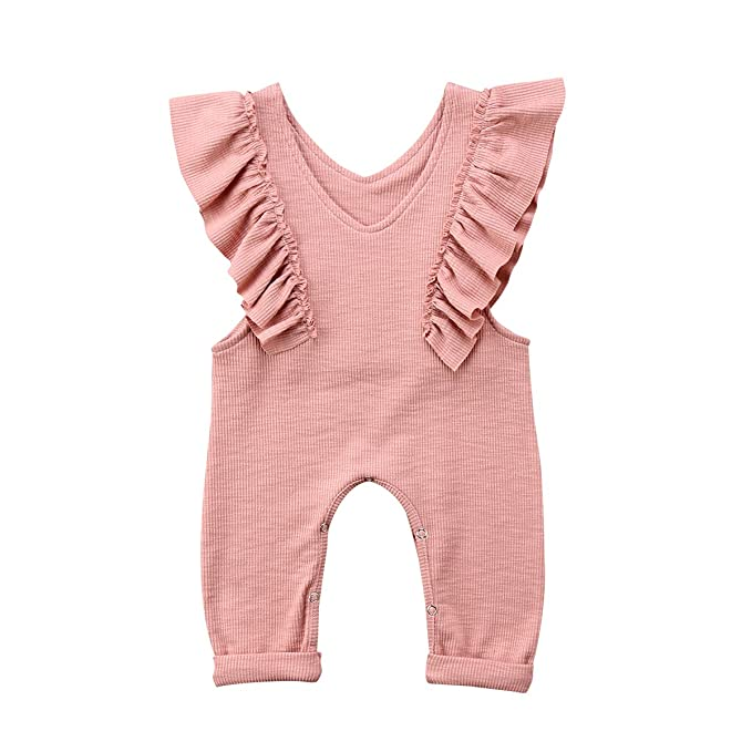 6a96a31d2a7 XARAZA Toddler Baby Girl Ruffle Loose Jumpsuit Romper Overalls Long Pants  Clothes Outfits (Pink