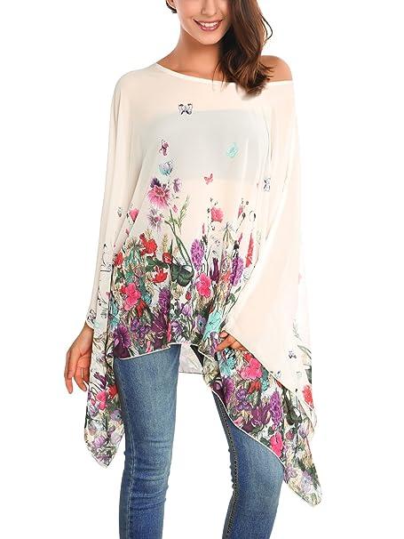 DJT Mujeres Estampado Floral Chiffon Caftan Poncho Tunic Top Albaricoque Floral