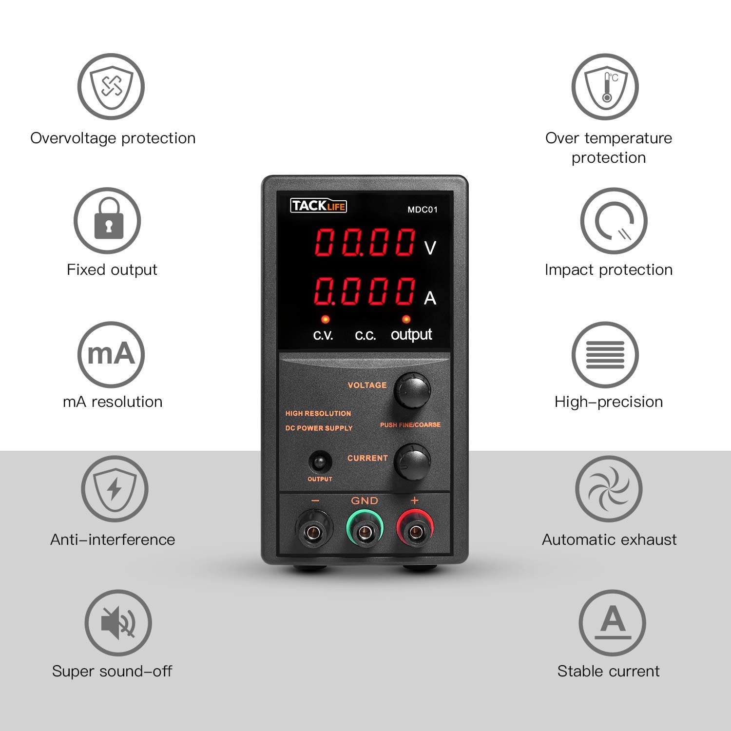 DC Power Supply Variable, Tacklife 4 digital LCD display (0-30V/0-5A) Switching DC Regulated Power Supply, Reverse polarity/high temperature protection, with 110V/115CM Alligator Leads by TACKLIFE (Image #7)