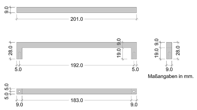 gedotec moderno dise/ño Manija de muebles cocina cromado 96mm Mango Armario modelo LEXUS anguloso schubladen-griff CROMADO PULIDO CALIDAD DE MARCAS PARA SU SALA DE ESTAR Bohrabstand 192 mm