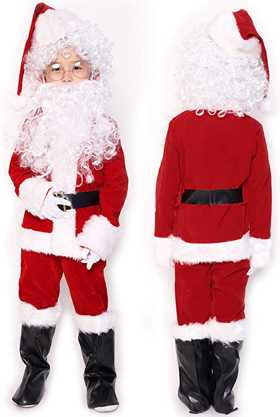 ADOMI Childrens Deluxe Santa Suit 10pc Christmas Child Santa Claus Kids Halloween Costume Cosplay