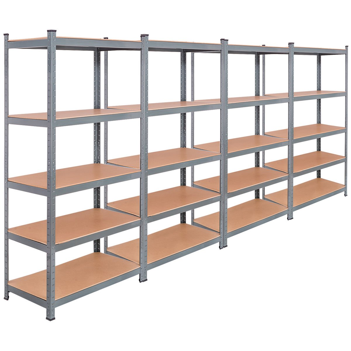 TANGKULA 5-Tier Storage Shelves Space-Saving Storage Rack Heavy Duty Steel Frame Organizer High Weight Capacity Multi-Use Shelving Unit for Home Office Dormitory Garage with Adjustable Shelves (4 PCS) by Tangkula