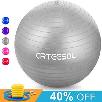 ARTEESOL Exercise Ball,Extra Thick Stability Yoga Ball Chair(45-75cm),Professional Grade Anti Burst & Slip Resistant Balance, Fitness&Physical ...
