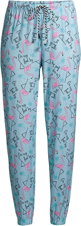 Flamingo On My Last Leg Pastel Turquoise Easy Comfort Jogger Sleep Pants