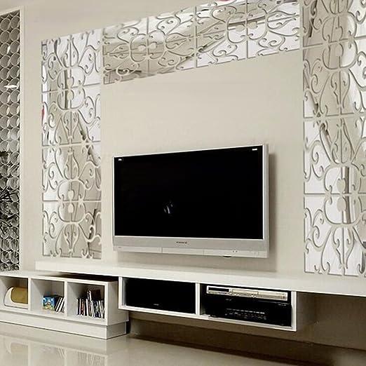 Adesivi murali 3D, Migavan 32PCS acrilico 3D moderno specchio Wall ...