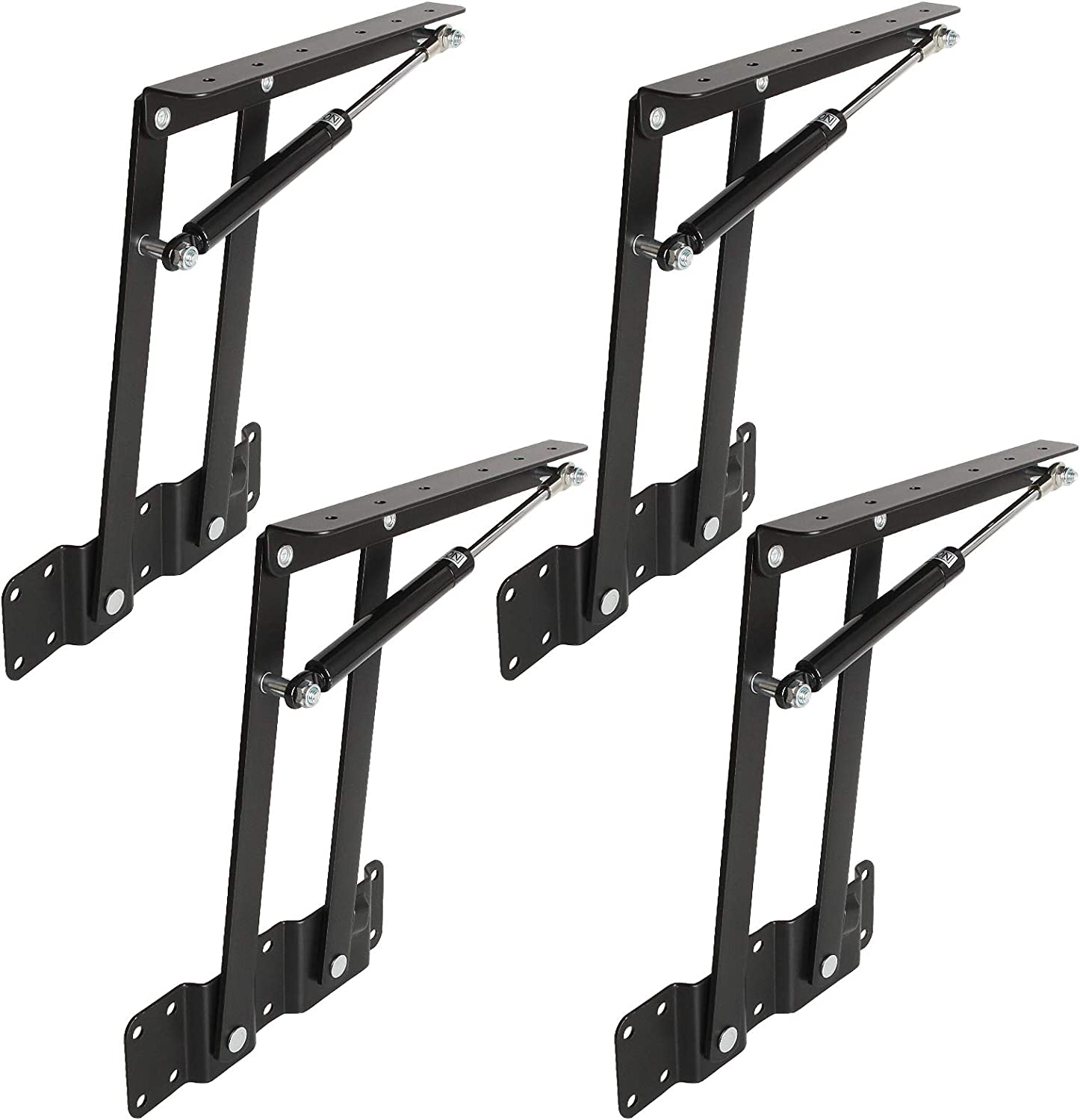 4 Pack Lift Up Hydraulic Hinge Top Lifting Frame,Lift Up Top Coffee Table Lift Mechanism Hardware Fitting Convertible Furniture Hinges Spring Stand Rack Bracket,Black Spring Stand Furniture Hinges