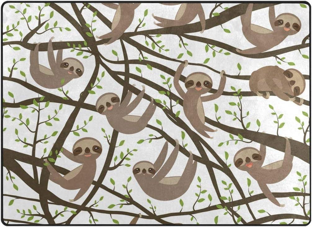 AHOMY - Alfombra Antideslizante de 150 x 200 cm con diseño de Rama de Color Verde para Sala de Estar, bebé, Sala de Mascotas, recámara, Comedor, Cocina (5 pies x 7 pies), Tela, 120x160 cm(5'x4' ft)