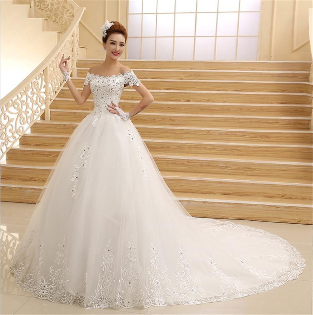 HAPPYMOOD Hochzeitskleid Spitze Perlen Hochzeitskleider für die ...