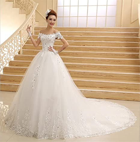 031538c522d8 HAPPYMOOD Vestito da Sposa Pizzo in Rilievo Abiti da Sposa per la Sposa  Spalla Sfera Nuziale
