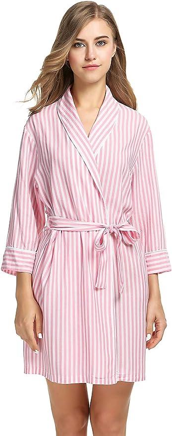 Ekouaer Women's Kimono Robe Knee Length Bridal Lingerie Loungewear Plus Size (Pink, XXL)