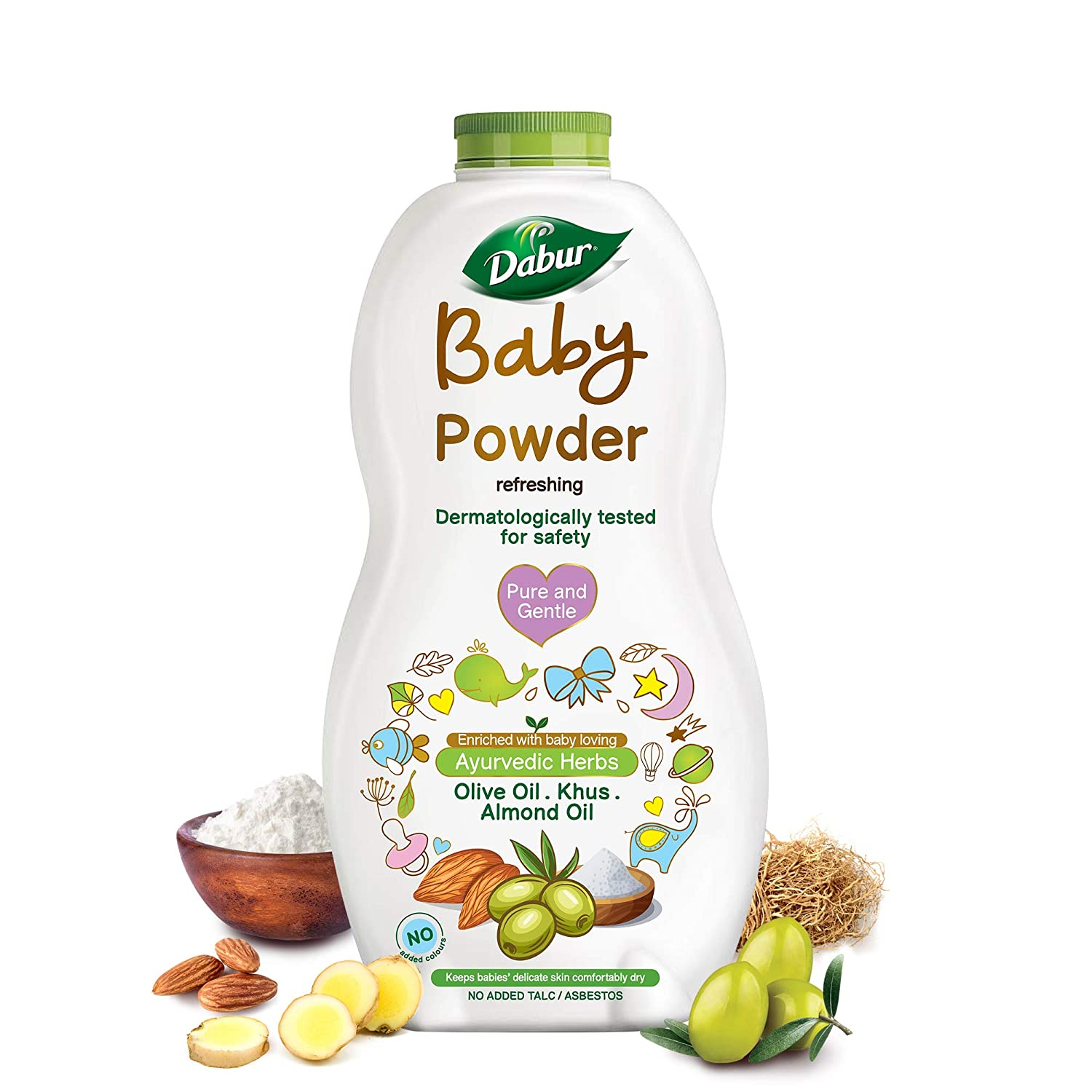 Dabur Baby Powder: No added Talc and Asbestos | Contains Oat Starch , Arrowroot Powder & Amba Haldi |Hypoallergenic & Dermatologically Tested with No Paraben & Phthalates - 150 g